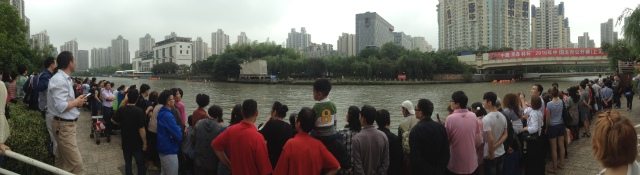 People waiting for dragon boat races, Shanghai